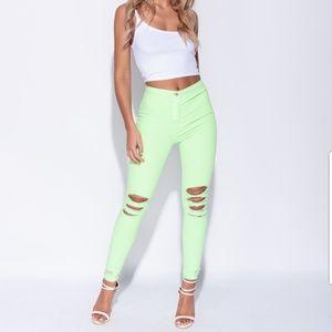 🎉HP🎉Green High Waist Skinny Jeans